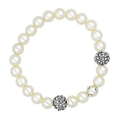 Jon Richard - Cream pearl and crystal ball stretch bracelet