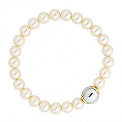 Jon Richard - Pearl and polished bead gold capped stretch bracelet