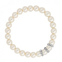 Jon Richard - Cream pearl and crystal disc stretch bracelet
