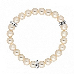 Jon Richard - Cream pearl and crystal rondel stretch bracelet