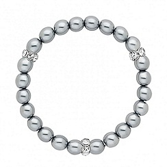 Jon Richard - Grey pearl and crystal rondel stretch bracelet