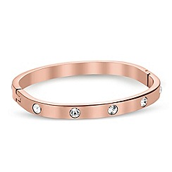 Jon Richard - Crystal encased rose gold curved bangle