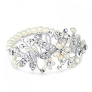 Designer blossom freshwater pearl and pave bracelet