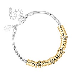 Jon Richard - Polished gold and crystal disc two tone bracelet