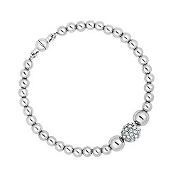 Jon Richard - Polished silver and crystal bead magnetic bracelet