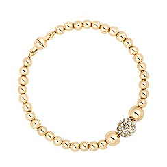 Jon Richard - Polished gold and crystal bead magnetic bracelet