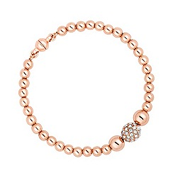 Jon Richard - Polished rose gold and crystal bead magnetic bracelet