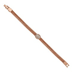 Jon Richard - Crystal oval disc and rose gold mesh chain bracelet