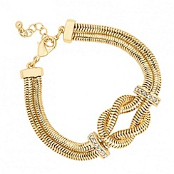 Jon Richard - Polished gold snake chain knot tassel bracelet