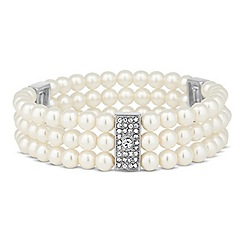 Jon Richard - Crystal link and pearl triple row stretch bracelet