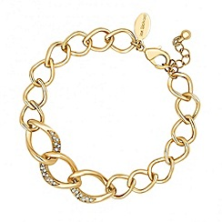Jon Richard - Polished gold and crystal encased curved link bracelet