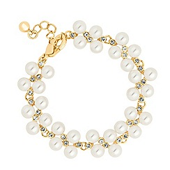 Jon Richard - Pearl and mini crystal cluster gold bracelet