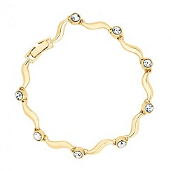 Jon Richard - Crystal set polished gold wave bracelet