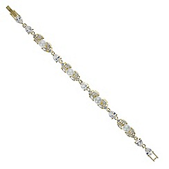 Jon Richard - Gold cubic zirconia and pearl link bracelet