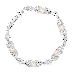 Alan Hannah Devoted - Designer cubic zirconia and pearl link bracelet