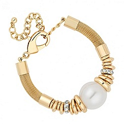 Jon Richard - Statement pearl and crystal mesh bracelet