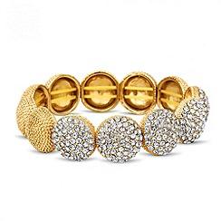 Jon Richard - Grey crystal embellished dome stretch bracelet