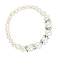 Jon Richard - Graduated crystal capped pearl stretch bracelet