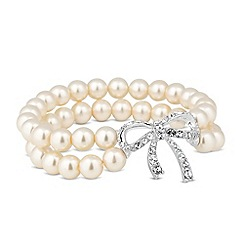 Jon Richard - Crystal bow and pearl double row stretch bracelet