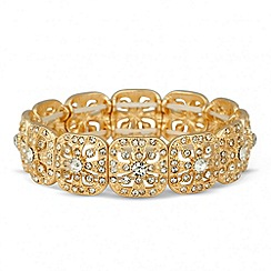Jon Richard - Gold filigree crystal square stretch bracelet
