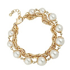 Jon Richard - Pearl and interlinked chain double row bracelet