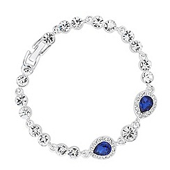 Jon Richard - Blue crystal double peardrop link bracelet