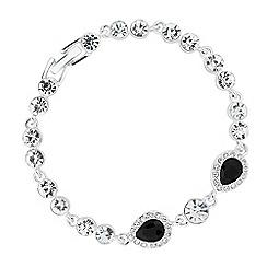 Jon Richard - Jet crystal double peardrop link bracelet