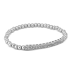 Jon Richard - Crystal embellished bar bead stretch bracelet