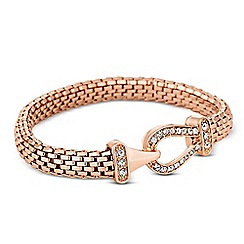 Jon Richard - Crystal link rose gold mesh stretch bracelet