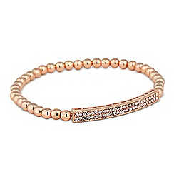 Jon Richard - Crystal bar rose gold bead stretch bracelet