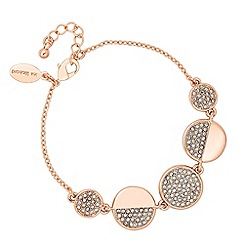 Jon Richard - Rose gold crystal disc link bracelet