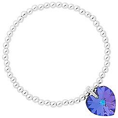 Jon Richard - Heliotrope purple crystal heart stretch bracelet MADE WITH SWAROVSKI ELEMENTS