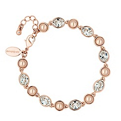 Jon Richard - Crystal rose gold pearl chain bracelet MADE WITH SWAROVSKI ELEMENTS
