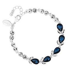 Jon Richard - Blue crystal peardrop link bracelet
