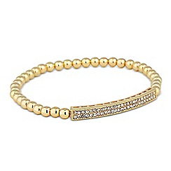 Jon Richard - Crystal bar gold bead stretch bracelet