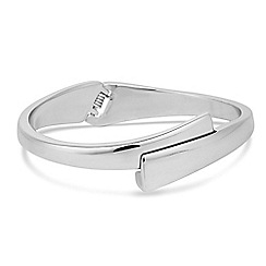 Jon Richard - Polished silver overlap hinged bangle