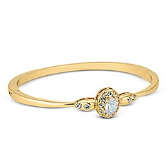 Jon Richard - Oval cubic zirconia crystal surround gold bangle
