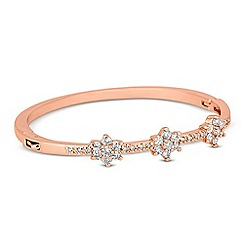 Jon Richard - Cubic zirconia triple flower rose gold bangle