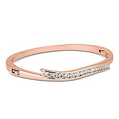 Jon Richard - Cubic zirconia rose gold panelled bangle