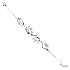 Alan Hannah Devoted - Designer cubic zirconia curved leaf bracelet