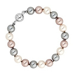 Jon Richard - Triple tone pearl chain magnetic bracelet
