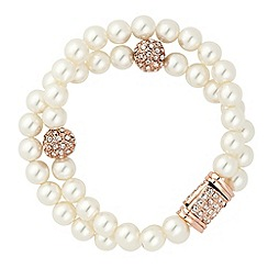 Jon Richard - Pearl and crystal ball double row magnetic bracelet