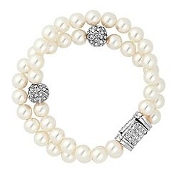 Jon Richard - Pearl and crystal silver ball double row magnetic bracelet