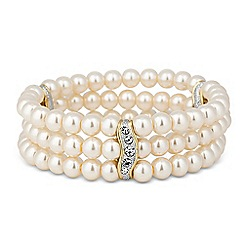 Jon Richard - Two tone crystal bar pearl stretch bracelet