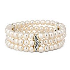Jon Richard - Two tone crystal bar pearl stretch bracelet