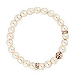 Jon Richard - Rose gold crystal ball pearl stretch bracelet