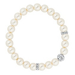 Jon Richard - Silver crystal ball pearl stretch bracelet