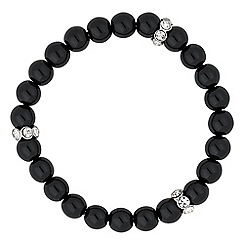 Jon Richard - Black pearl and crystal disc stretch bracelet