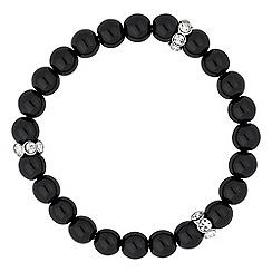Jon Richard - Black pearl and crystal disc stretch bracelet