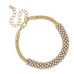 Jon Richard - Crystal embellished bar gold mesh bracelet